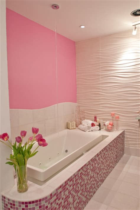 Modern Pink Tile Bathroom Pink Glitter Bathroom Modern Bathroom New York By