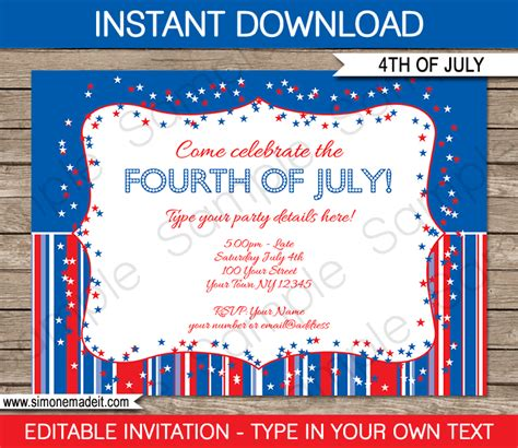 july 4th party invitations template fourth of july party