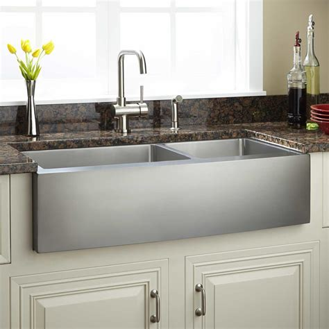 Stainless Farmhouse Kitchen Sinks 42 Quot Optimum 60 40 Offset Bowl Stainless Steel Farmhouse Sink Curved Apron Kitchen