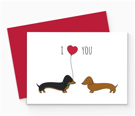 free printable christmas cards dogs printable dachshund valentines card digital sausage dog love
