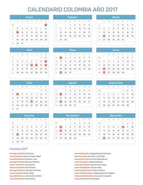 Calendario Noviembre 2017 Chile Calendario Colombia A 241 O 2017 Feriados
