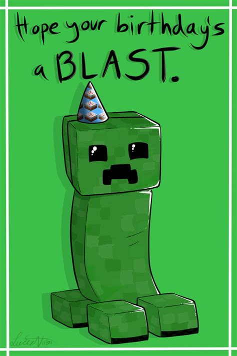 How To Make A Minecraft Birthday Card Minecraft Birthday Cards Print Outs Creeper Birthday