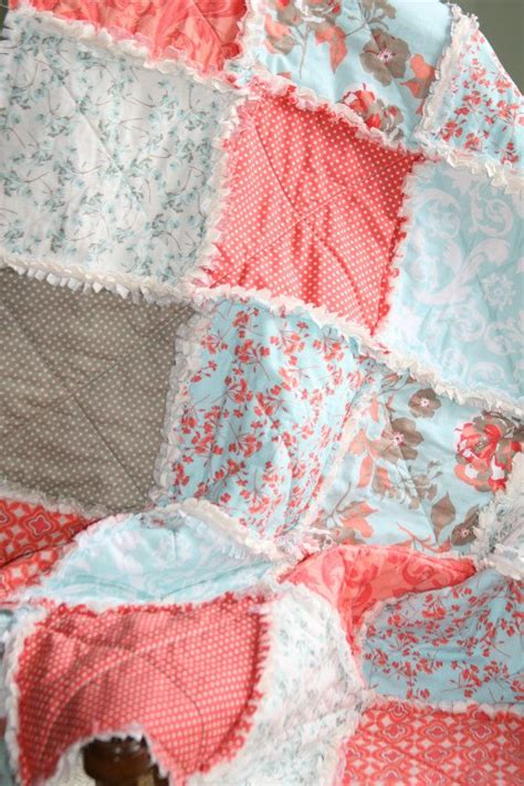 Coral Bed Quilt by Crib Rag Quilt Baby Crib Bedding Coral Aqua By