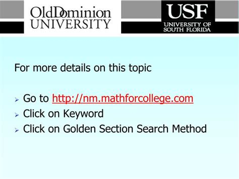 golden section search ppt numerical methods golden section search method