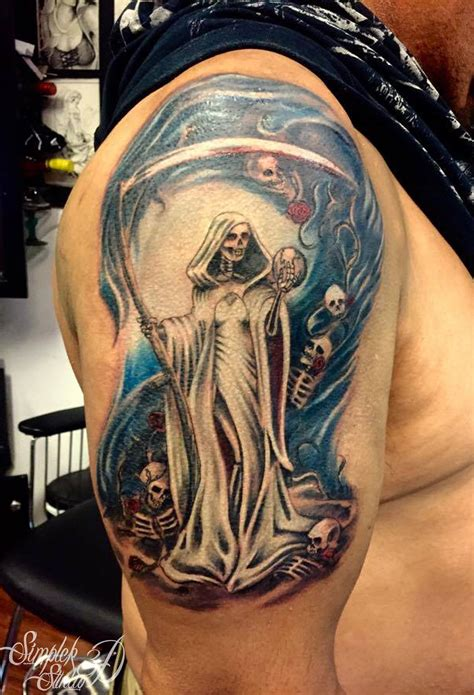 santa muerte tattoos color santa muerte with globe and lost skeleton