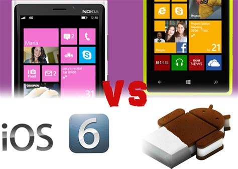 android vs windows phone windows phone 8 vs ios 6 vs android 4 0 windows phone