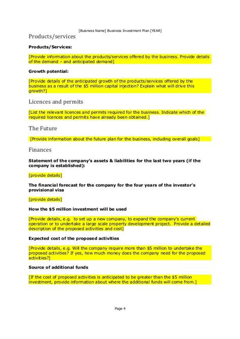 investment property business plan template property investment business plan template