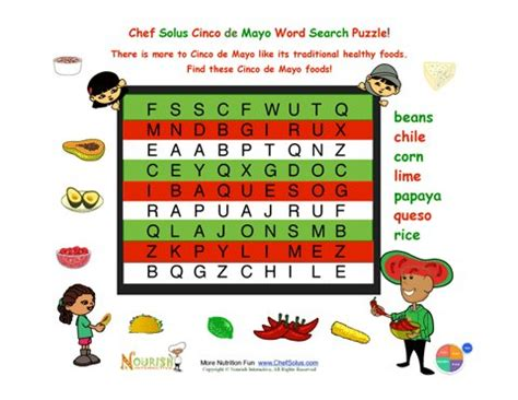 Free Mexico Search 6 Cinco De Mayo Easy Mexican Foods Word Search For