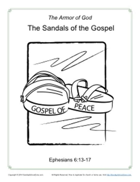 shoes of peace lesson for sandals of the gospel coloring page armor of god for