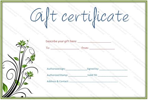 printable gift cards online free blank gift certificate template free download