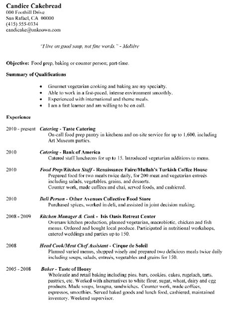 Food Prep Resume by Resume Sle Food Prep Baking Or Counter Person