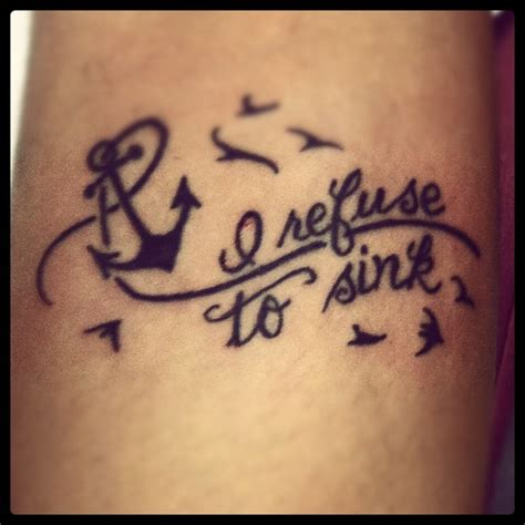 i refuse to sink wrist tattoos