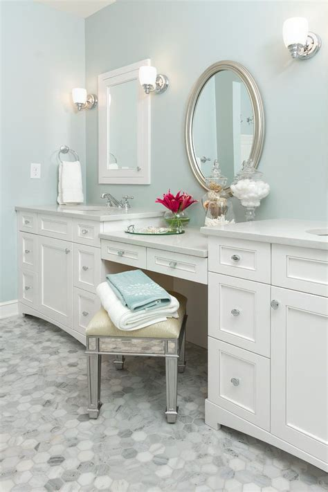 Magnificent silver leaf mirror with double bathroom sink white vanity oval