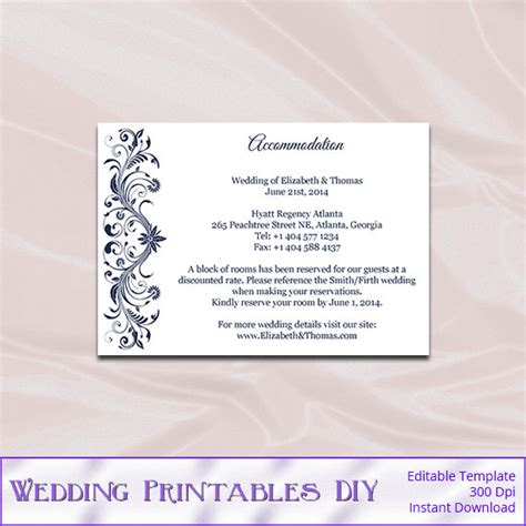 wedding hotel information card template navy wedding enclosure cards template diy blue hotel