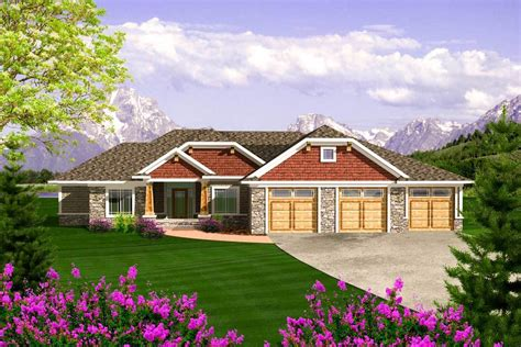 craftsman ranch with 3 car garage 89868ah