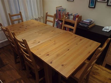 pine dining table and 6 chairs ikea extendable stornas dining table and 6 x kaustby