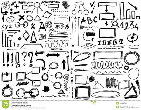 free doodle lines set doodle shapes royalty free stock photos