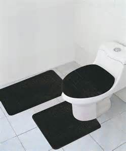 Small Bathroom Rugs And Mats 3 Bathroom Rug Set Large Bath Rugs Contour Anti Slip Mat Lid Cover Black Ebay