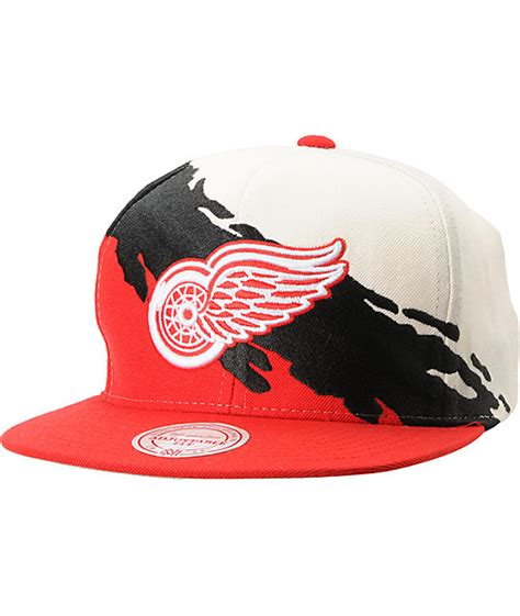 nhl snapback hats c 5 nhl mitchell and ness detroit wings paintbrush
