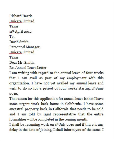 annual leave application letter 42 leave letter sles pdf word apple pages sle