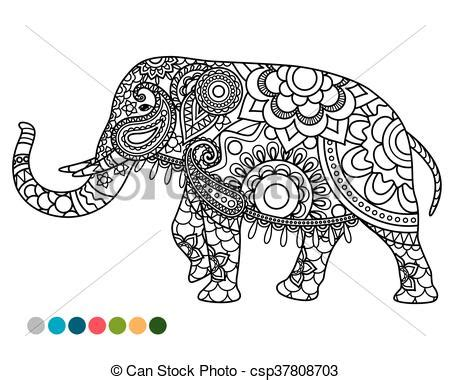 elephant mandala ornament with colors samples elephant