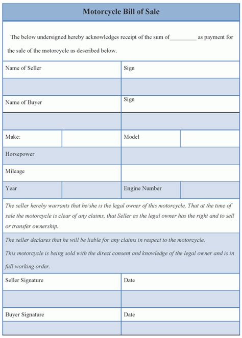 motorcycle bill of sale template template for motorcycle