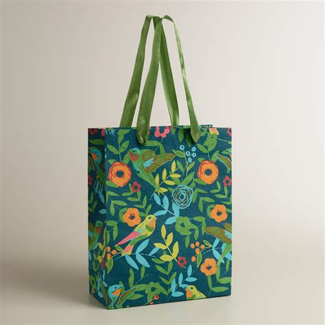 Handmade Gift Bag - large blue woodland birds handmade gift bag world market