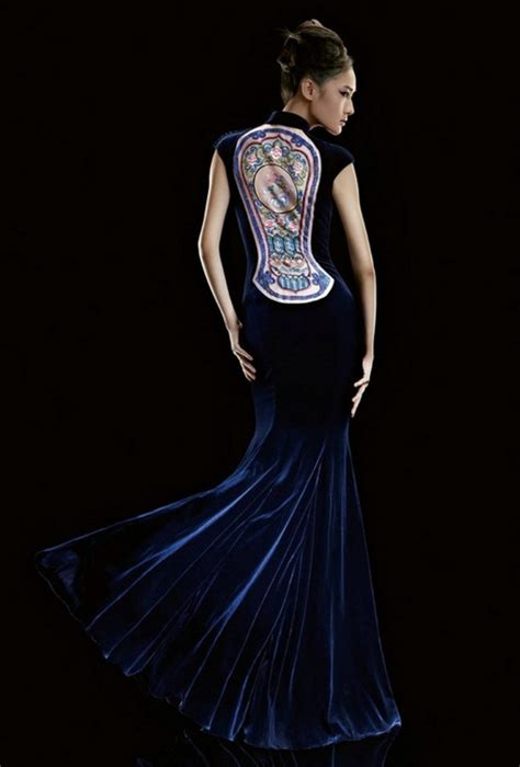 qipao pattern meaning dark blue chinese embroidery pattern cheongsam costumes