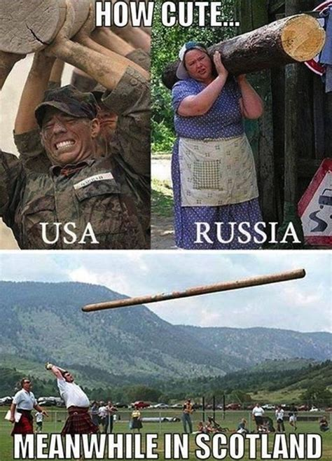 Meanwhile In Scotland Meme - how cute usa vs russia vs scotland
