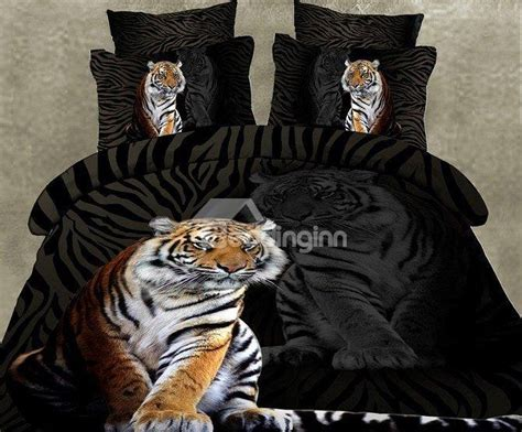 skincare tiger print 4 piece polyester 3d bedding sets