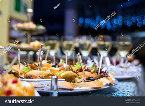 new year buffet catering buffet table canape sandwiches snacks stock photo