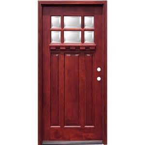 In x 80 in craftsman 6 lite stained mahogany wood prehung front door