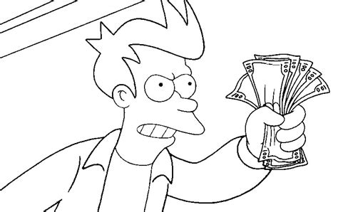 coloring page futurama game of drones philip j fry 4
