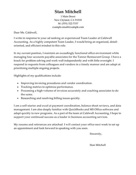 leadership cover letter exle best management team lead cover letter exles livecareer