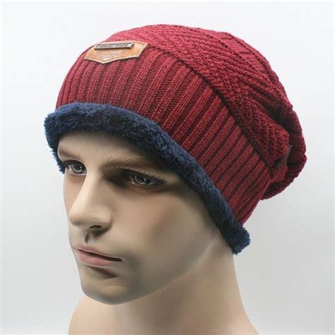 mens wool knit hat s winter knit crochet slouch ski cap beanie
