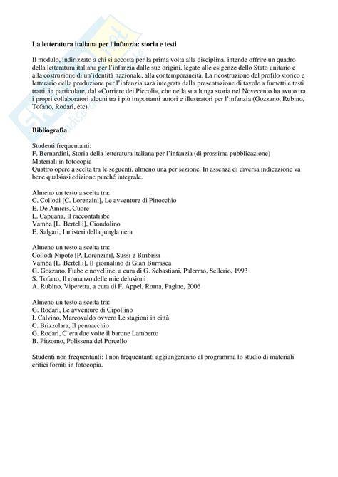 storia d testo letteratura italiana per l infanzia storia e testi