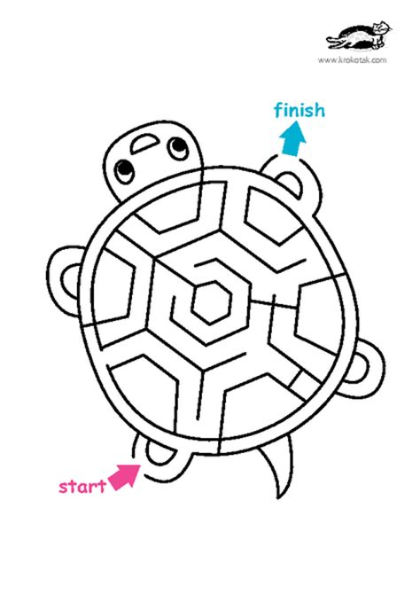 printable turtle maze krokotak print printables for kids