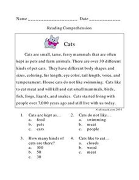 reading comprehension test online for cat cats reading comprehension lesson plan for 2nd grade