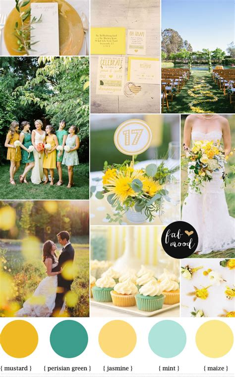 mint mustard color palette autumn wedding inspiration