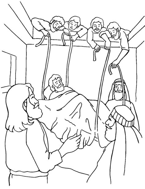 jesus heals the paralytic coloring child coloring