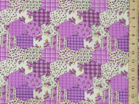 Patchwork Print Fabric - hexagonal patchwork printed polycotton fabric lilac