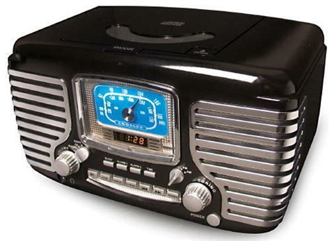crosley cr612 bk black corsair retro am fm radio dual alarm clock cd player ebay