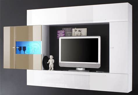 Ensemble Meuble TV murale sable/blanc laque a led Massimo