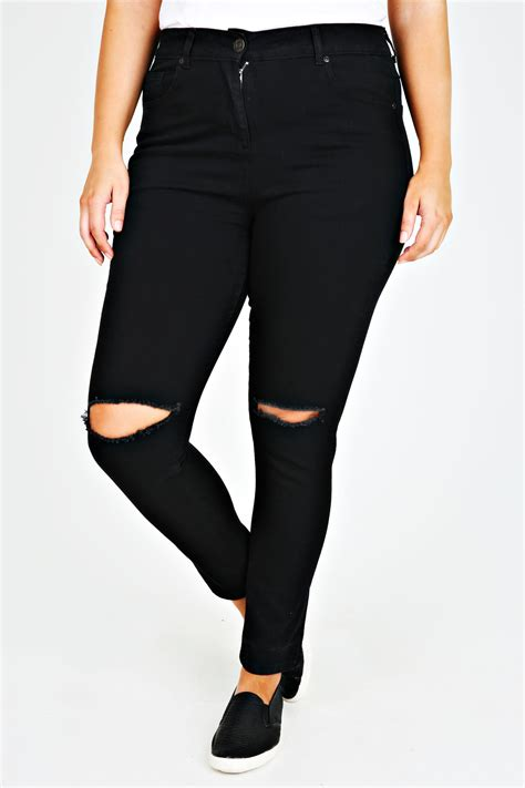 Silet 4 Ripped Black Stretch black stretch with ripped knee plus size 14 to 28