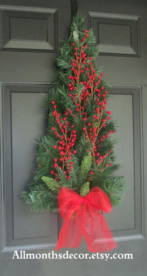 red holly berry christmas tree pine wreath swag fall