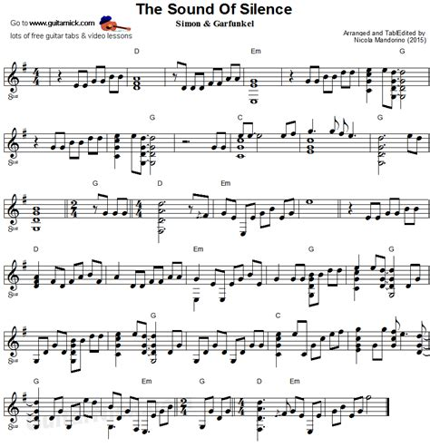 tutorial chitarra fingerstyle the sound of silence fingerstyle guitar sheet music