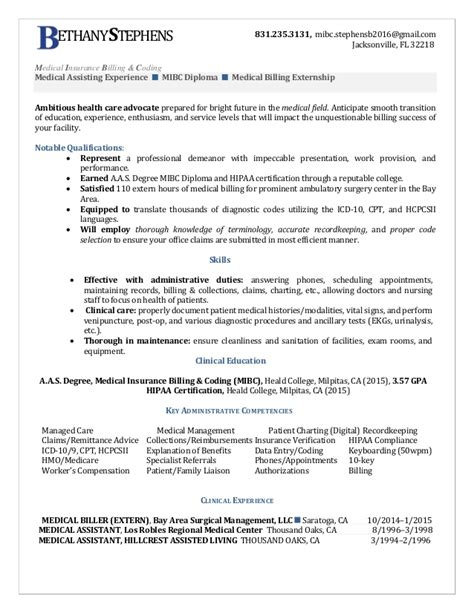 Billing And Coding Resume by Bethany Stephens Insurance Billing Coding Resume