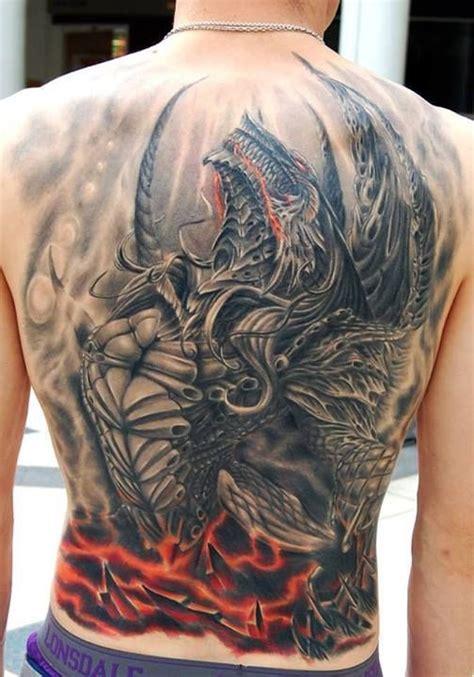 tattoo dragon on back unique skull castle tattoo on full back