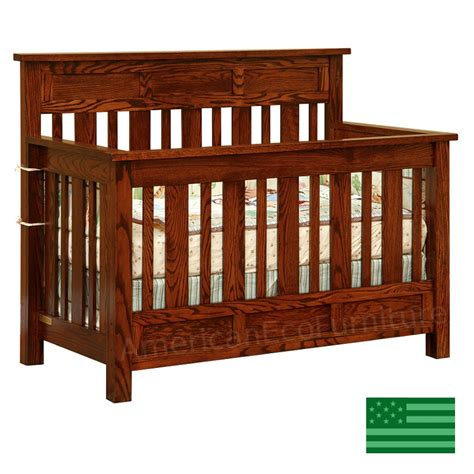 Amish Houston 4 In 1 Convertible Baby Crib Solid Wood Amish Baby Crib
