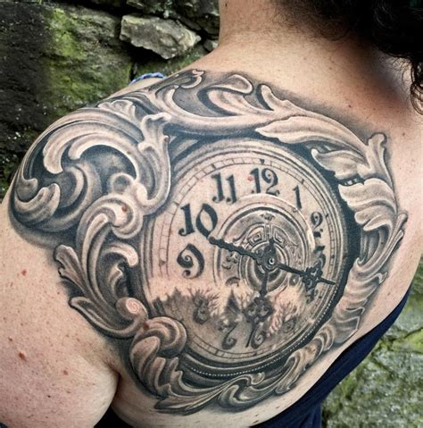 FILIGREE CLOCK SHOULDER TATTOO by Maximilian Rothert
